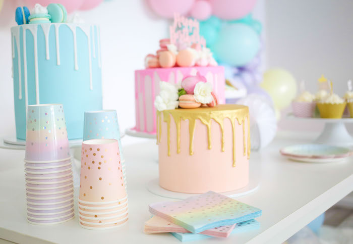 Cake Table + Partyware from a Pastel Sorbet Inspired Balloon Birthday Party on Kara's Party Ideas | KarasPartyIdeas.com (17)