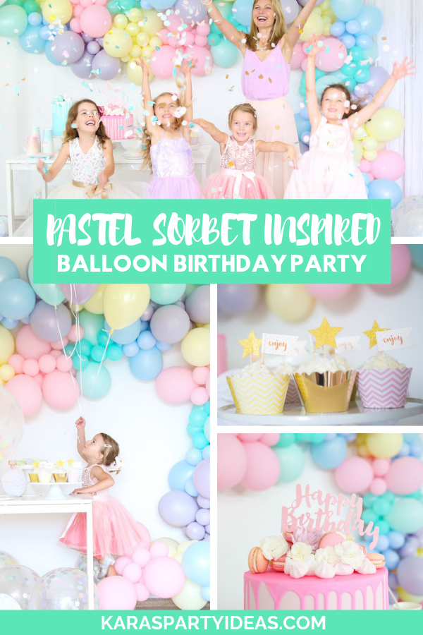Pastel Sorbet Inspired Balloon Birthday Party via Kara's Party Ideas - KarasPartyIdeas.com
