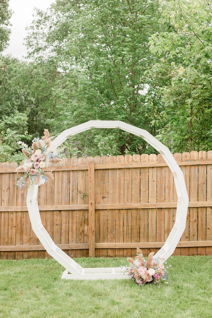 White Wooden Circle Arch from a Pastel Two-nicorn Unicorn 2nd Birthday Party on Kara's Party Ideas | KarasPartyIdeas.com (12)