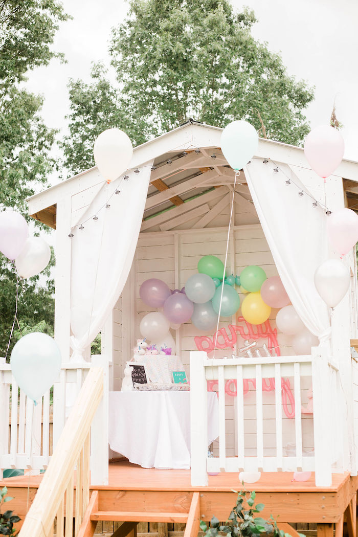 Covered Porch Party Setup from a Pastel Two-nicorn Unicorn 2nd Birthday Party on Kara's Party Ideas | KarasPartyIdeas.com (11)
