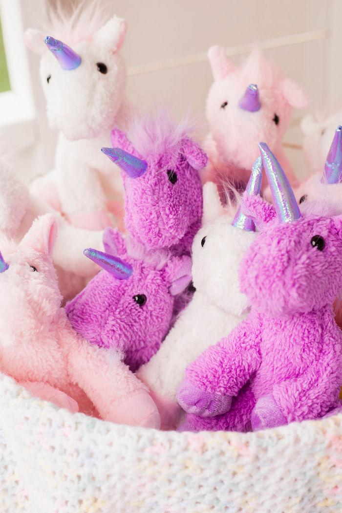 Plush Unicorns from a Pastel Two-nicorn Unicorn 2nd Birthday Party on Kara's Party Ideas | KarasPartyIdeas.com (8)