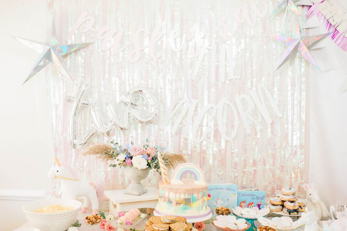 Unicorn Dessert Table from a Pastel Two-nicorn Unicorn 2nd Birthday Party on Kara's Party Ideas | KarasPartyIdeas.com (25)