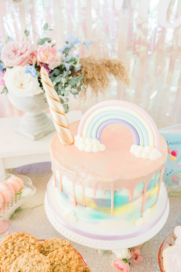 Rainbow Unicorn Cake from a Pastel Two-nicorn Unicorn 2nd Birthday Party on Kara's Party Ideas | KarasPartyIdeas.com (23)