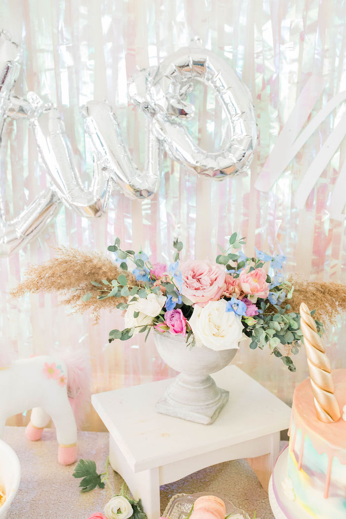 Pastel Floral Centerpiece from a Pastel Two-nicorn Unicorn 2nd Birthday Party on Kara's Party Ideas | KarasPartyIdeas.com (22)