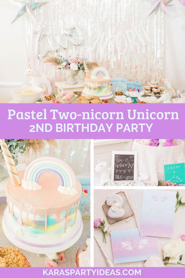 Pastel Two-nicorn Unicorn 2nd Birthday Party via Kara's Party Ideas - KarasPartyIdeas.com