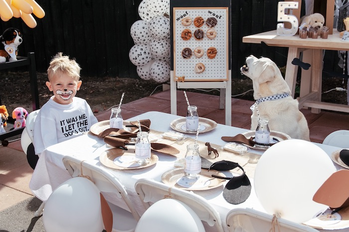 Puppy Themed Guest + Kid Table from a Puppy Party on Kara's Party Ideas | KarasPartyIdeas.com (16)