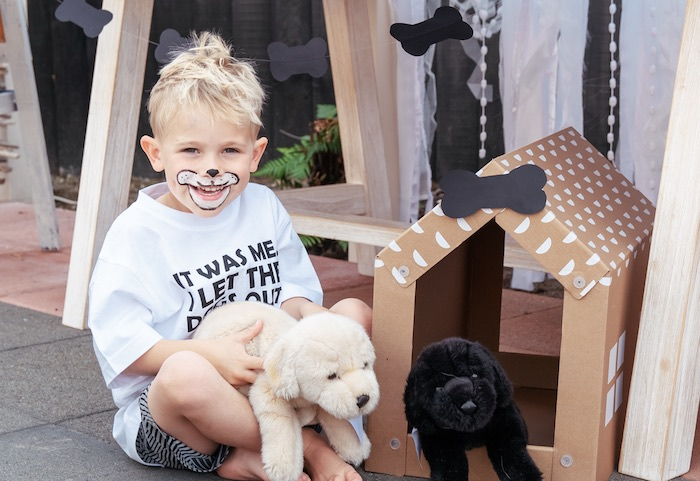 Cardboard Dog House + Plush Puppies from a Puppy Party on Kara's Party Ideas | KarasPartyIdeas.com (15)