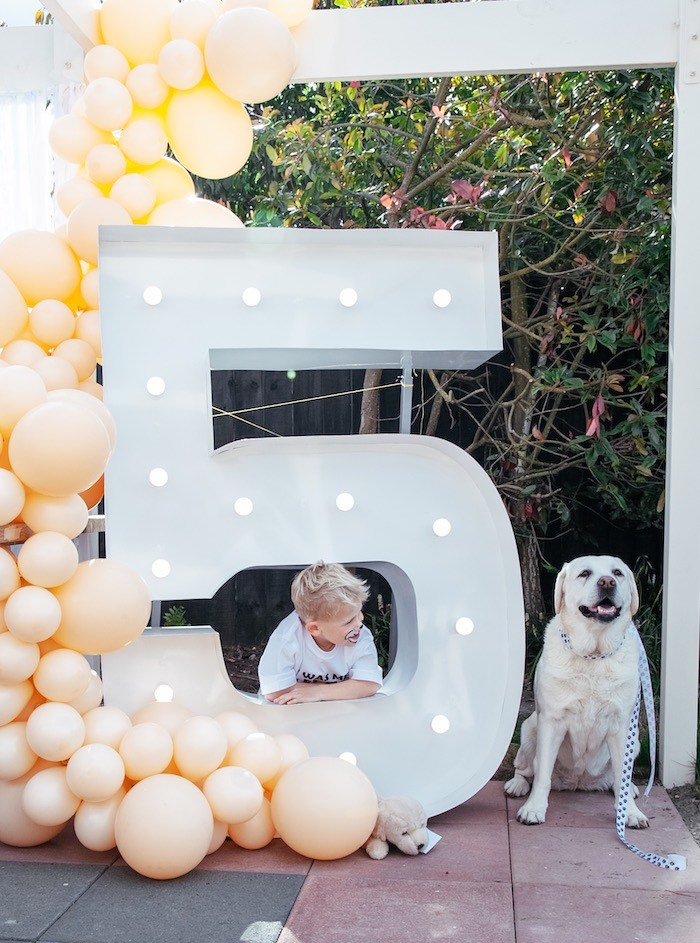 Balloon Installation & Giant 5 Marquee from a Puppy Party on Kara's Party Ideas | KarasPartyIdeas.com (13)