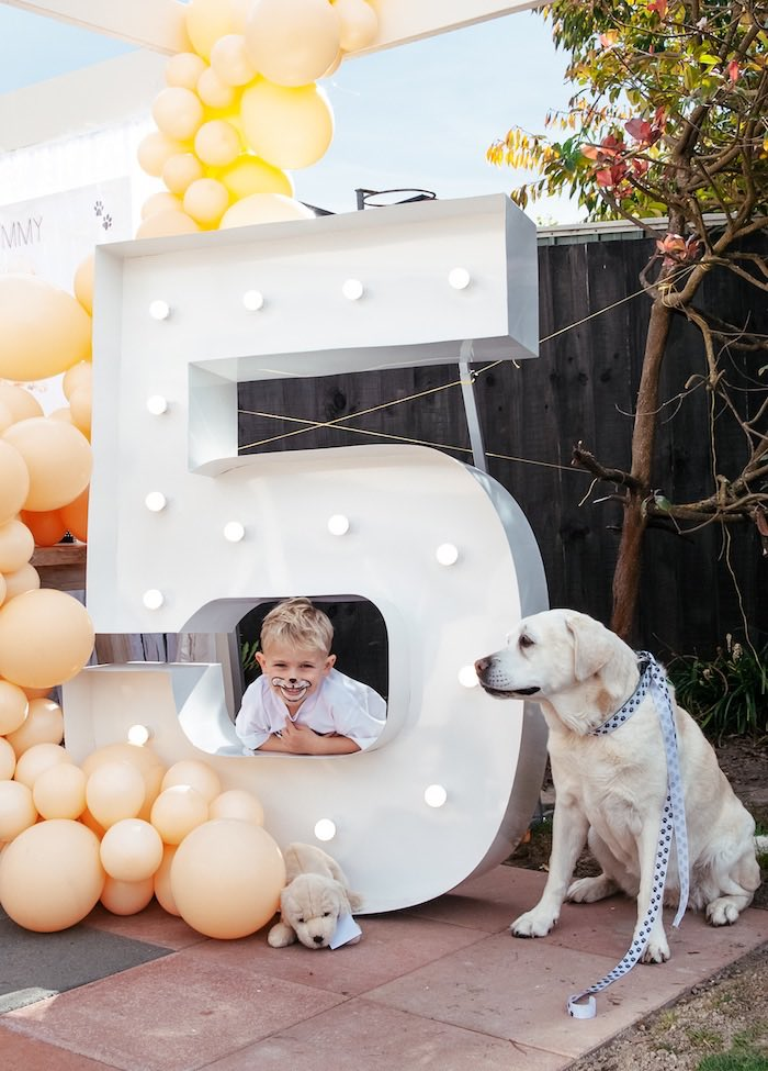 Giant 5 Marquee from a Puppy Party on Kara's Party Ideas | KarasPartyIdeas.com (12)
