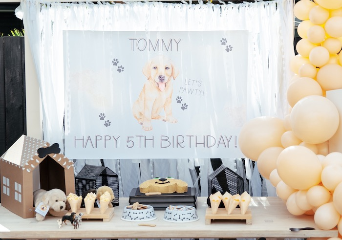 Puppy Themed Birthday Party Dessert Table from a Puppy Party on Kara's Party Ideas | KarasPartyIdeas.com (25)