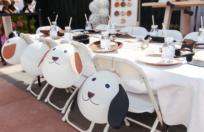Puppy-crafted Balloons adorning Party Chairs from a Puppy Party on Kara's Party Ideas | KarasPartyIdeas.com (24)