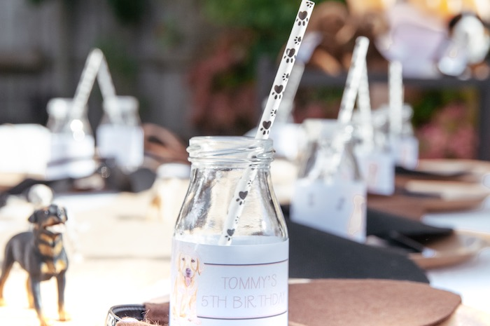 Puppy Paw Print Straw + Drink Bottle from a Puppy Party on Kara's Party Ideas | KarasPartyIdeas.com (23)