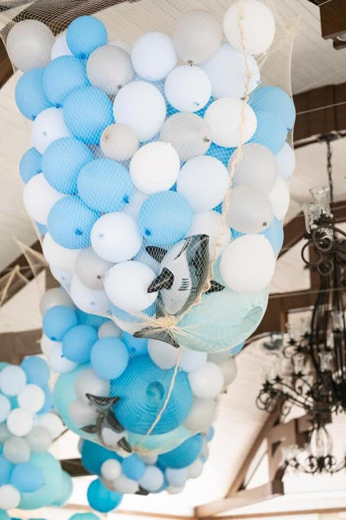 Netted Shark + Balloon Bunches from a Shark Attack Birthday Party on Kara's Party Ideas | KarasPartyIdeas.com (15)