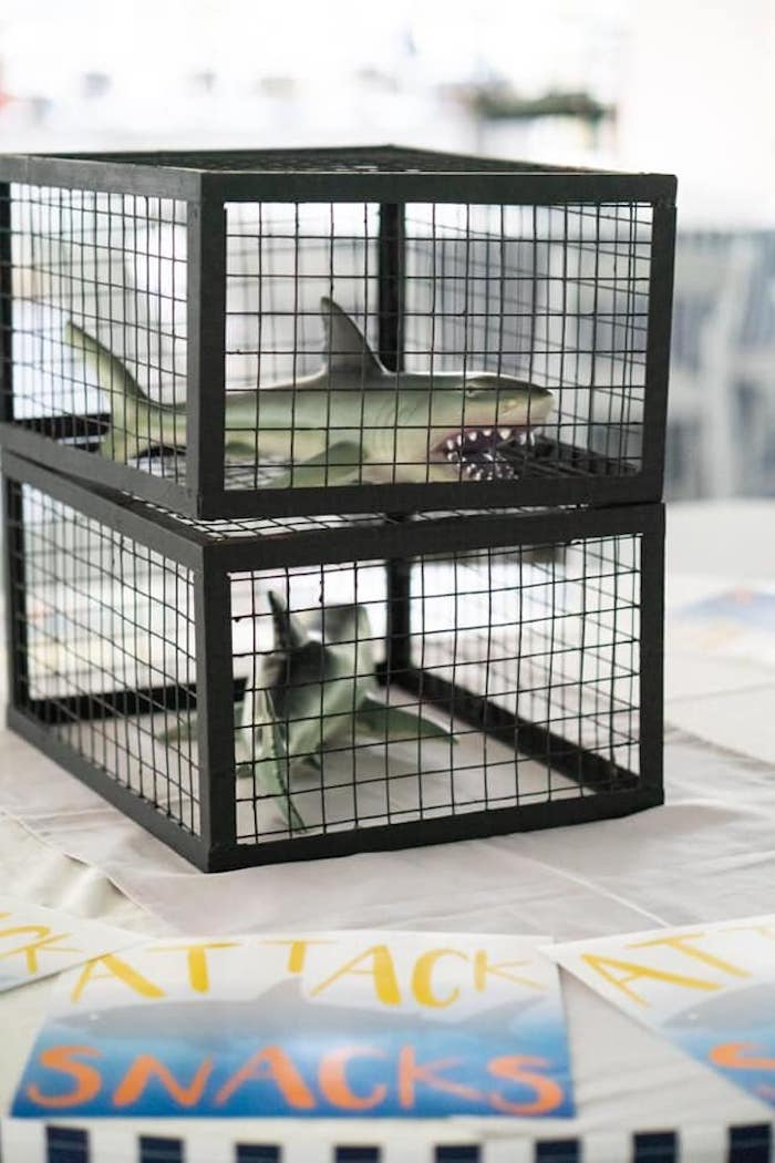 Caged Shark Table Centerpiece from a Shark Attack Birthday Party on Kara's Party Ideas | KarasPartyIdeas.com (14)