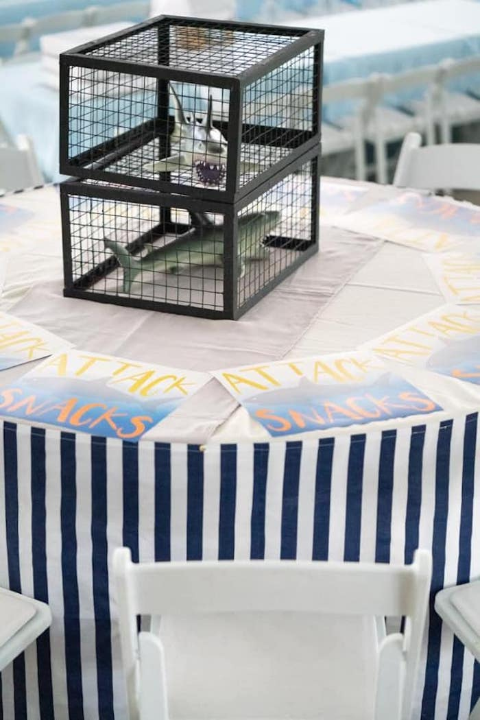 Shark Themed Guest Table from a Shark Attack Birthday Party on Kara's Party Ideas | KarasPartyIdeas.com (13)