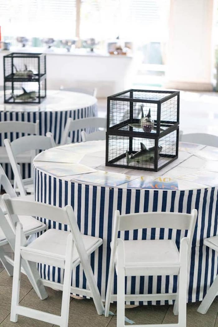 Blue + White Striped Guest Table from a Shark Attack Birthday Party on Kara's Party Ideas | KarasPartyIdeas.com (12)