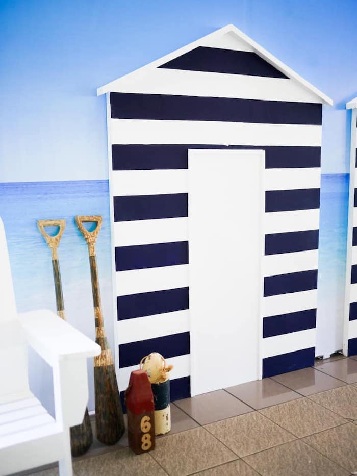 Beach Front Backdrop from a Shark Attack Birthday Party on Kara's Party Ideas | KarasPartyIdeas.com (11)