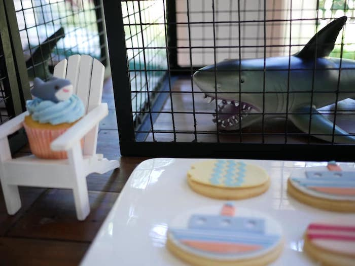 Caged Shark + Cookies from a Shark Attack Birthday Party on Kara's Party Ideas | KarasPartyIdeas.com (9)