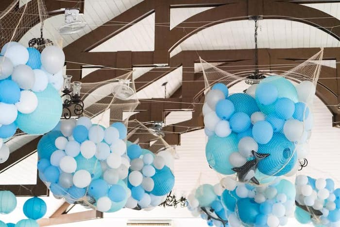 Netted Shark + Balloon Bunches from a Shark Attack Birthday Party on Kara's Party Ideas | KarasPartyIdeas.com (7)