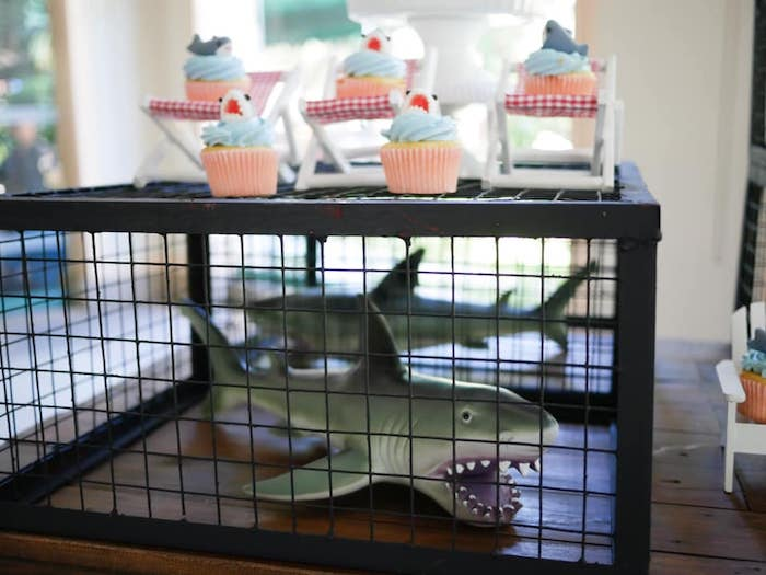Caged Shark Centerpiece + Cupcake Stand from a Shark Attack Birthday Party on Kara's Party Ideas | KarasPartyIdeas.com (6)