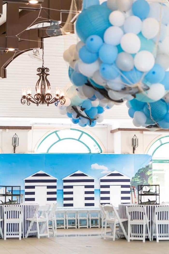 Beach Front Backdrop from a Shark Attack Birthday Party on Kara's Party Ideas | KarasPartyIdeas.com (24)