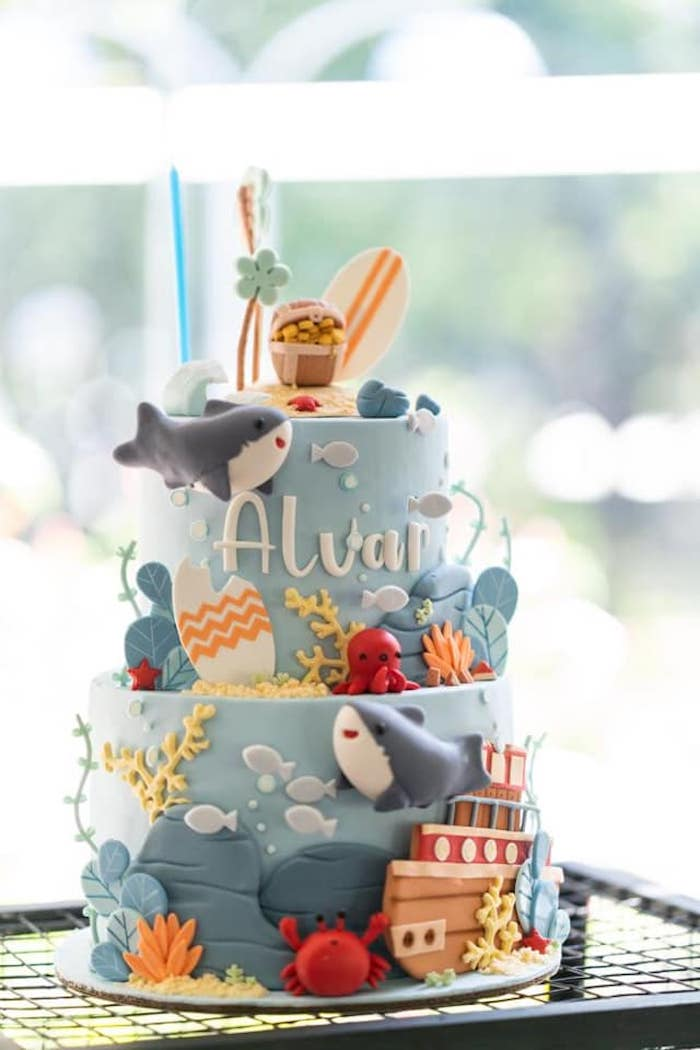 Shark Themed Birthday Cake from a Shark Attack Birthday Party on Kara's Party Ideas | KarasPartyIdeas.com (5)