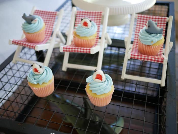 Shark Cupcakes on Beach Chair Cupcake Pedestals from a Shark Attack Birthday Party on Kara's Party Ideas | KarasPartyIdeas.com (23)