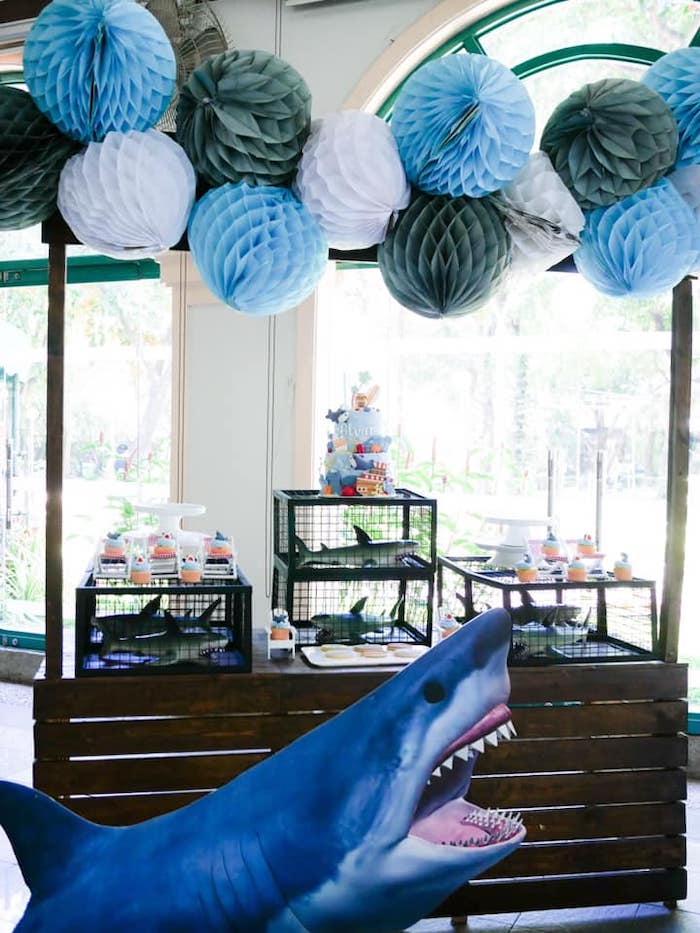 Shark Attack Dessert Table from a Shark Attack Birthday Party on Kara's Party Ideas | KarasPartyIdeas.com (21)