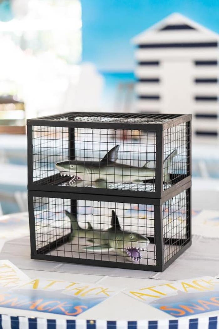 Caged Shark Table Centerpiece from a Shark Attack Birthday Party on Kara's Party Ideas | KarasPartyIdeas.com (20)