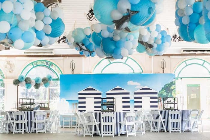 Beach Front Guest Tables + Partyscape from a Shark Attack Birthday Party on Kara's Party Ideas | KarasPartyIdeas.com (19)