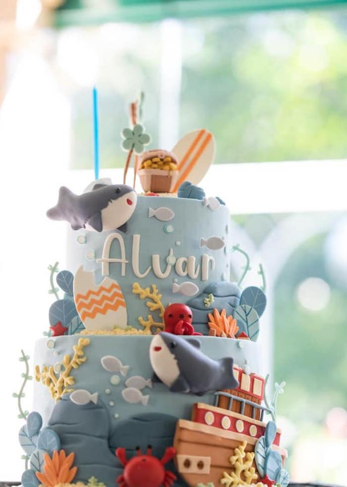 Shark Attack Birthday Cake from a Shark Attack Birthday Party on Kara's Party Ideas | KarasPartyIdeas.com (17)