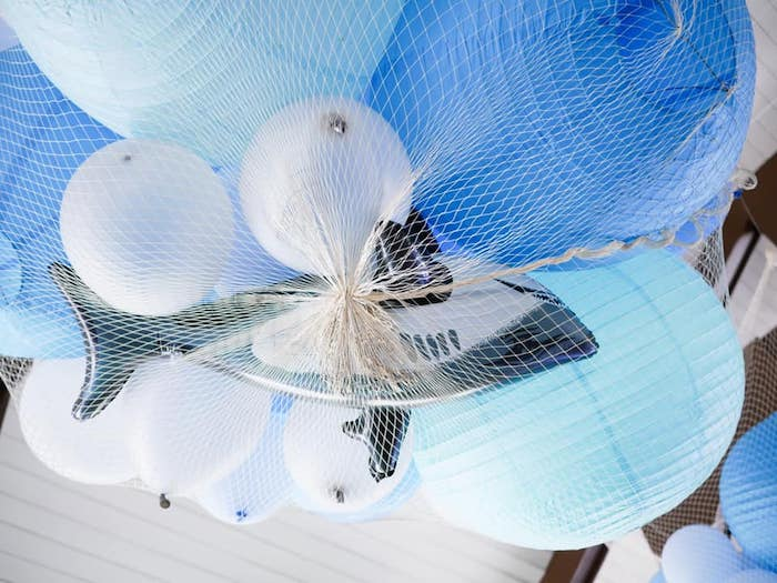 Netted Shark Balloon Bunch from a Shark Attack Birthday Party on Kara's Party Ideas | KarasPartyIdeas.com (16)