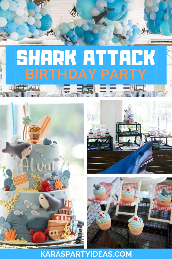 Shark Attack Birthday Party via Kara's Party Ideas - KarasPartyIdeas.com
