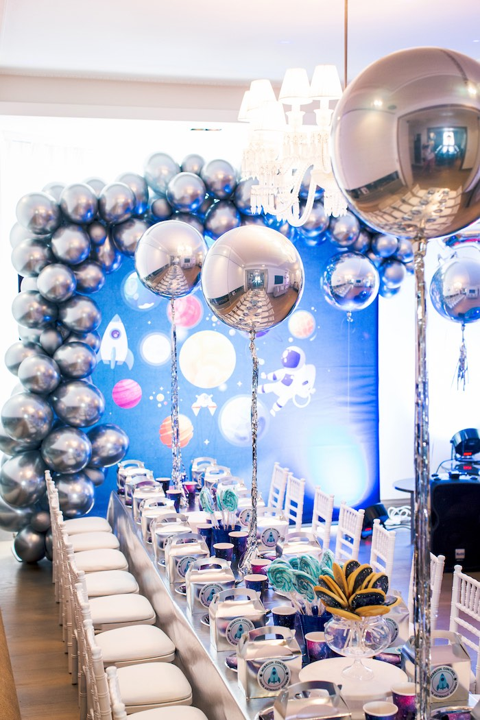 Space Themed Guest Table from a Space Adventure Birthday Party on Kara's Party Ideas | KarasPartyIdeas.com (8)