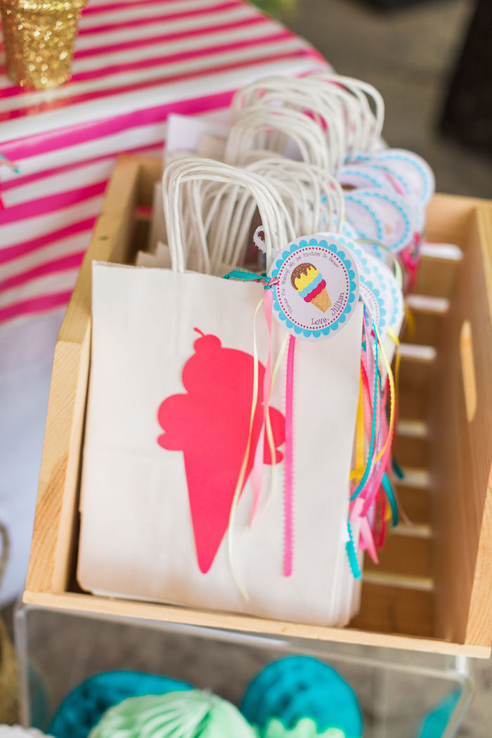 Tasseled Ice Cream Cone Gift Bags from a Sprinkles and Ice Cream Birthday Party on Kara's Party Ideas | KarasPartyIdeas.com (36)
