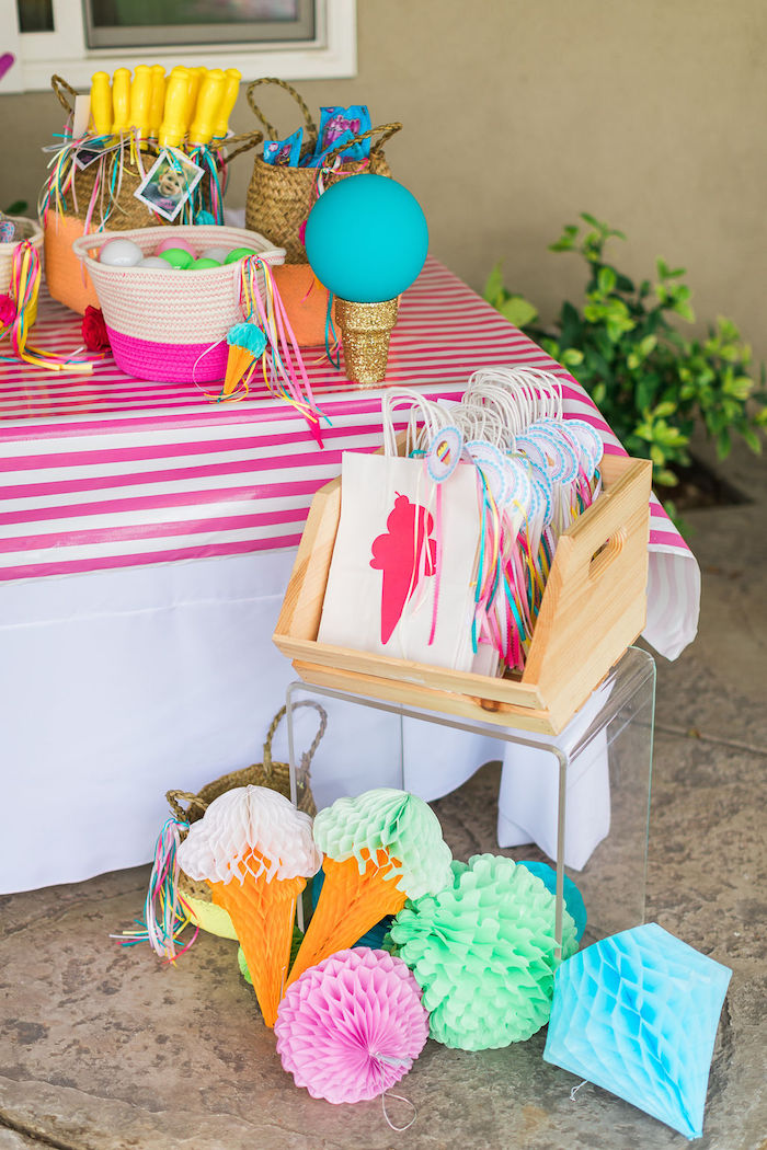 Ice Cream Cone Gift Bags + Tissue Decorations from a Sprinkles and Ice Cream Birthday Party on Kara's Party Ideas | KarasPartyIdeas.com (34)