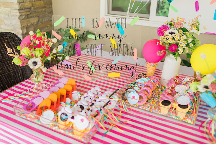 Ice Cream Themed Sunglasses from a Sprinkles and Ice Cream Birthday Party on Kara's Party Ideas | KarasPartyIdeas.com (29)