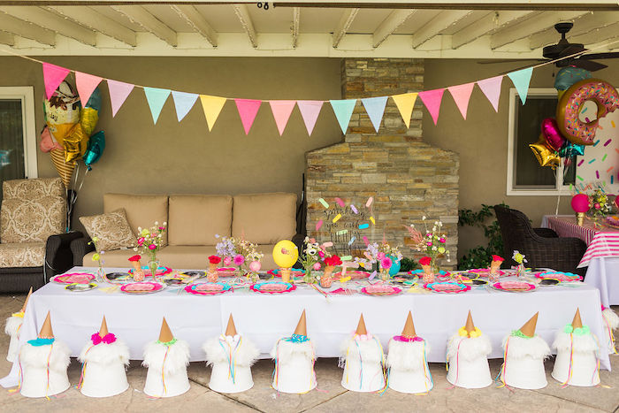 Ice Cream & Sprinkles Themed Kid Table from a Sprinkles and Ice Cream Birthday Party on Kara's Party Ideas | KarasPartyIdeas.com (27)
