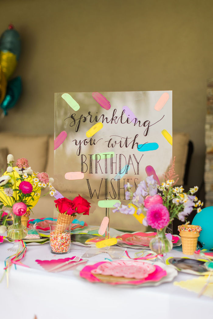 Kid Table + Acrylic Signage from a Sprinkles and Ice Cream Birthday Party on Kara's Party Ideas | KarasPartyIdeas.com (26)