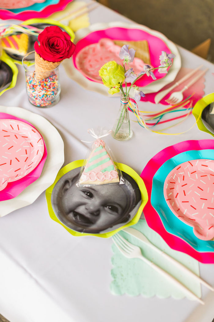 Table Settings from a Sprinkles and Ice Cream Birthday Party on Kara's Party Ideas | KarasPartyIdeas.com (25)