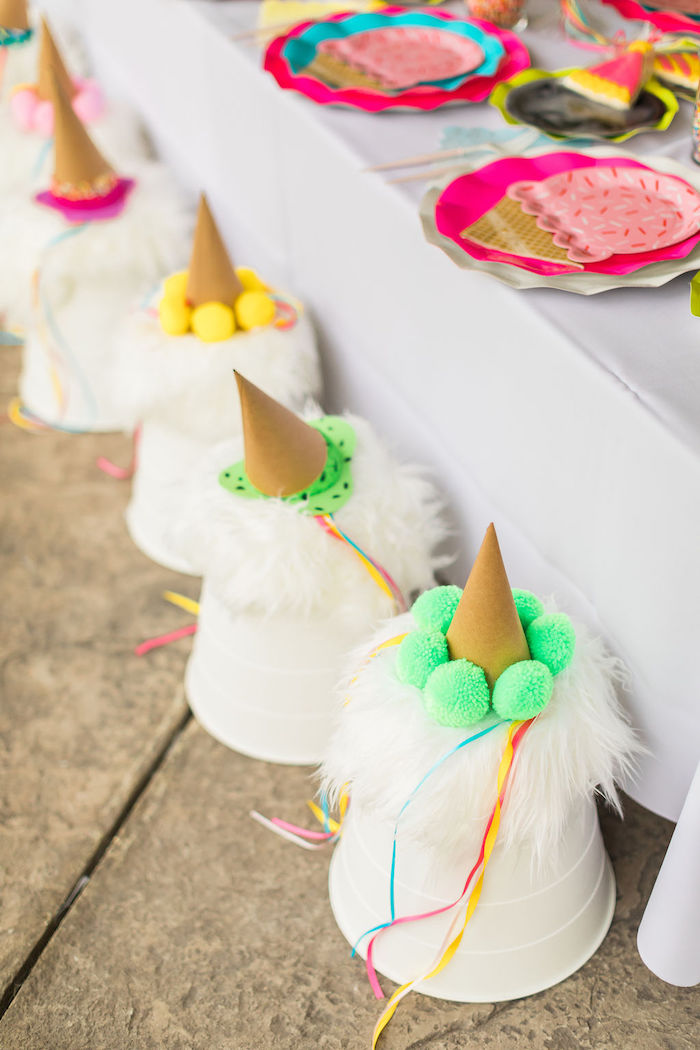 """Dripping"" Ice Cream Cone Party Hats + Bucket Stools from aSprinkles and Ice Cream Birthday Party on Kara's Party Ideas 