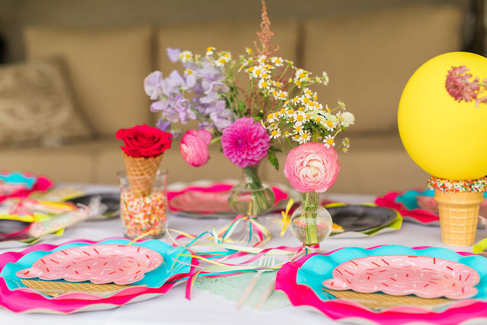 Kid Table Settings + Tablescape from a Sprinkles and Ice Cream Birthday Party on Kara's Party Ideas | KarasPartyIdeas.com (22)