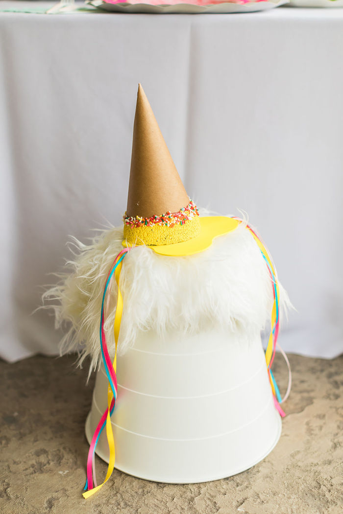 """Dripping"" Ice Cream Cone Party Hat + Bucket Chair from a Sprinkles and Ice Cream Birthday Party on Kara's Party Ideas 