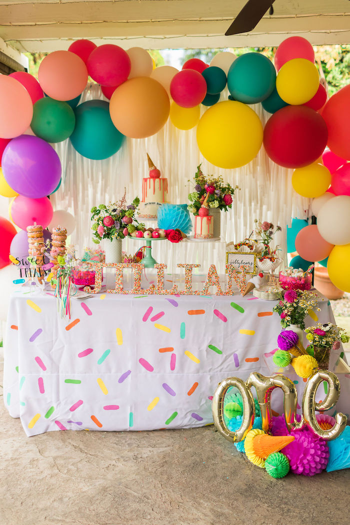 Sprinkles & Ice Cream Themed Dessert Table from a Sprinkles and Ice Cream Birthday Party on Kara's Party Ideas | KarasPartyIdeas.com (19)