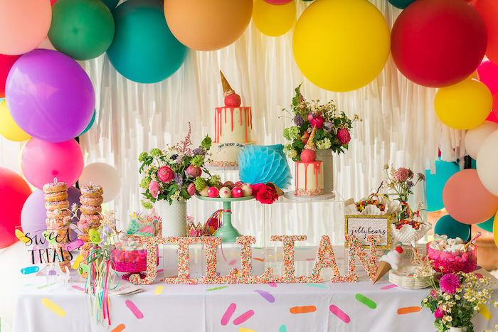 Sweet Table from a Sprinkles and Ice Cream Birthday Party on Kara's Party Ideas | KarasPartyIdeas.com (18)