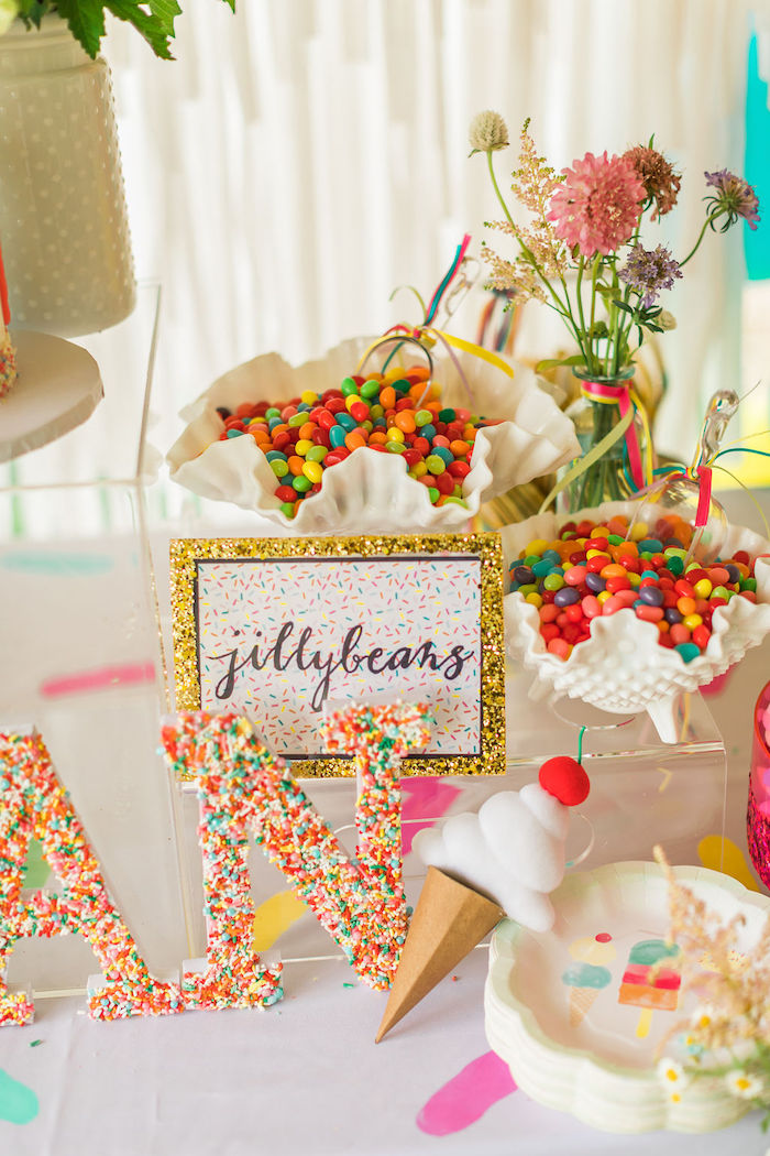 Jellybeans from a Sprinkles and Ice Cream Birthday Party on Kara's Party Ideas | KarasPartyIdeas.com (11)