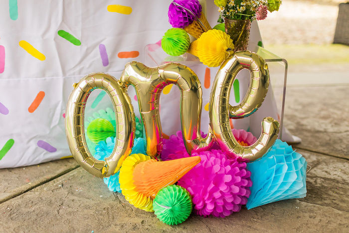Tissue Decoration Balloon Banner from a Sprinkles and Ice Cream Birthday Party on Kara's Party Ideas | KarasPartyIdeas.com (9)