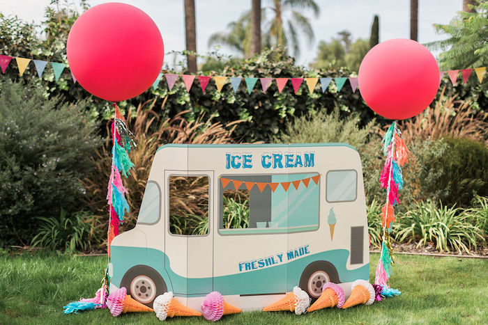 Cardboard Ice Cream Truck from a Sprinkles and Ice Cream Birthday Party on Kara's Party Ideas | KarasPartyIdeas.com (6)