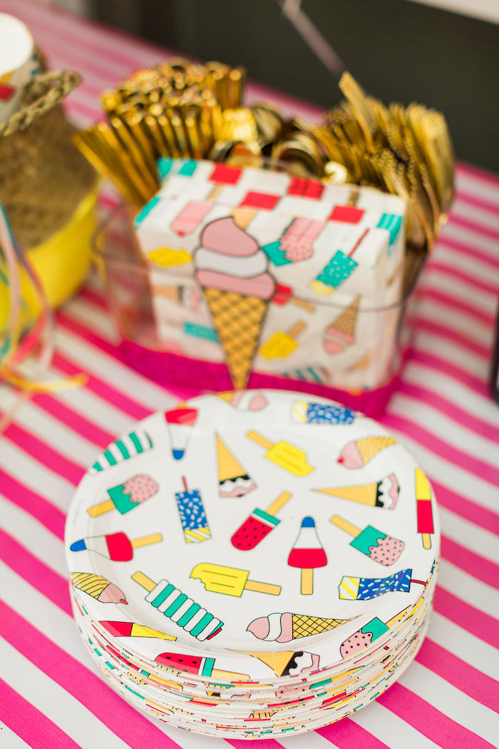 Ice Cream Cone + Popsicle Plates + Napkins from a Sprinkles and Ice Cream Birthday Party on Kara's Party Ideas | KarasPartyIdeas.com (42)