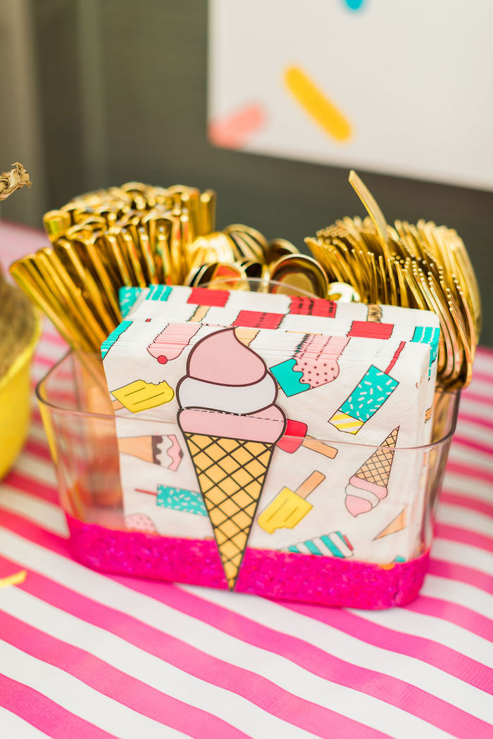 Ice Cream Napkins from a Sprinkles and Ice Cream Birthday Party on Kara's Party Ideas | KarasPartyIdeas.com (41)